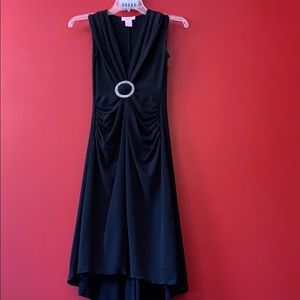 Vintage Black High Low dress w/ Deep V neck